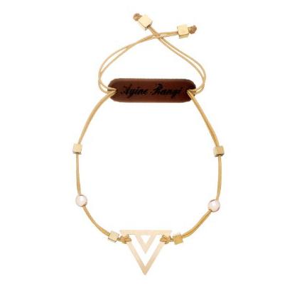 دستبند طلا 18 عیار آیینه رنگی طرح مثلث
