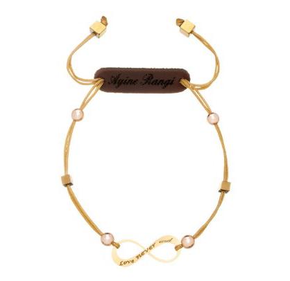 دستبند طلا 18 عیار آیینه رنگی مدل بینهایت
