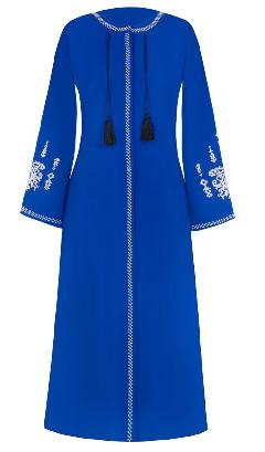 مانتو زنانه بلند آبی کربنی