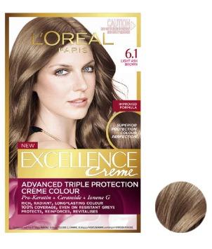 کیت رنگ مو لورآل مدل Excellence شماره 6.1 حجم 48 میلی لیتر رنگ قهوه ای دودی