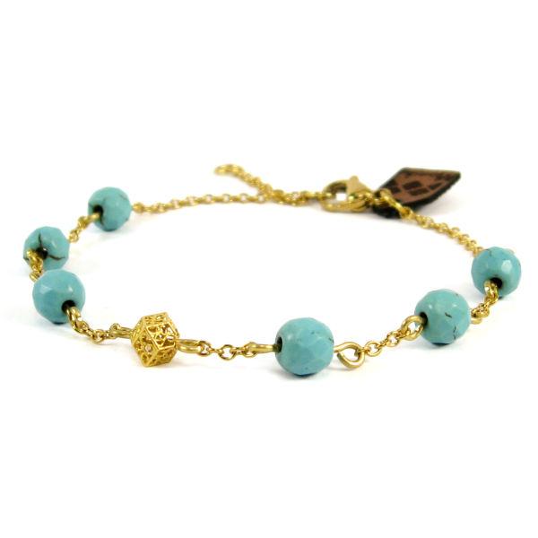 دستبند طلا زنانه با سنگ طبیعی