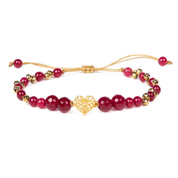 دستبند طلا 18 عیار زنانه ریسه گالری طرح قلب