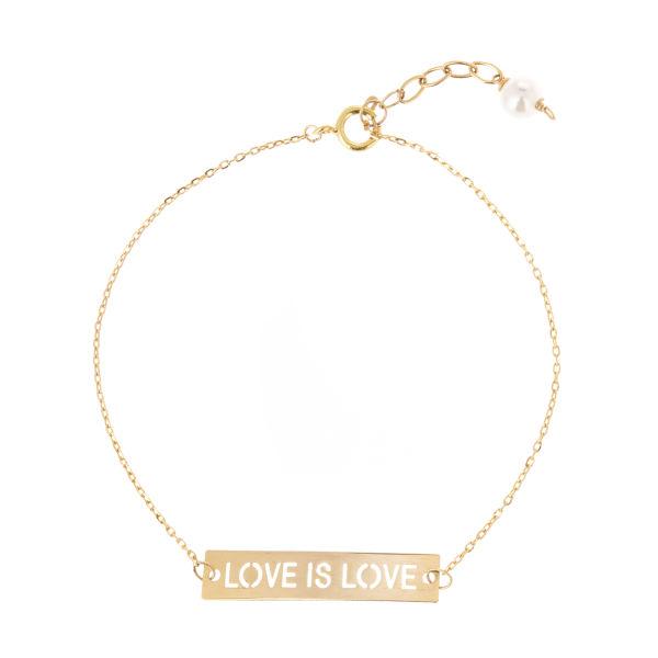 دستبند طلا 18 عیار زنانه طرح love