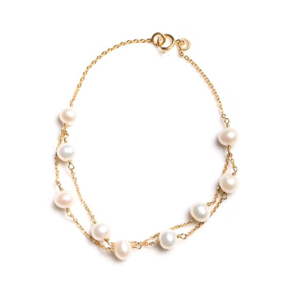 دستبند طلا 18 عیار مرواریدی