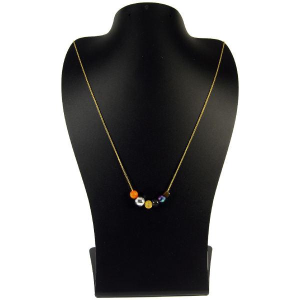 گردنبند طلا 18 عیار زنانه مانچو با سنگ رنگی