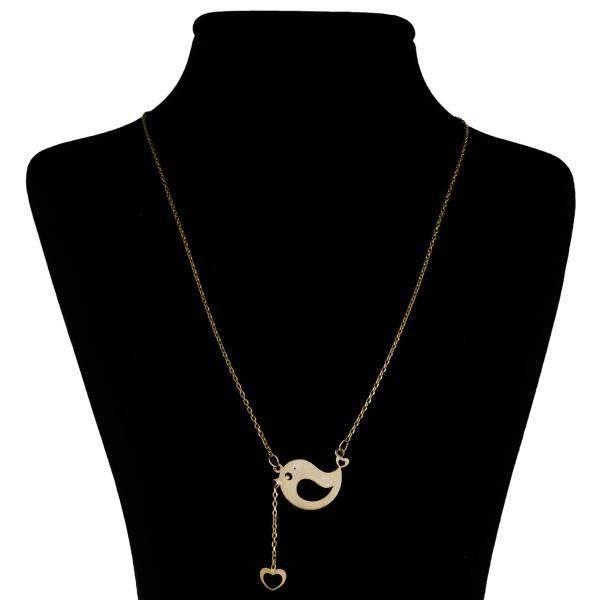 گردنبند طلا 18 عیار زنانه مانچو طرح گنجشک