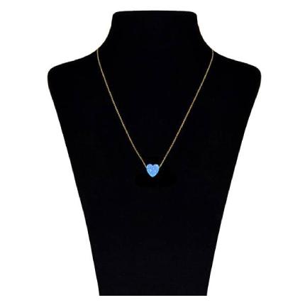 گردنبند طلا 18 عیار ماهک مدل قلب آبی