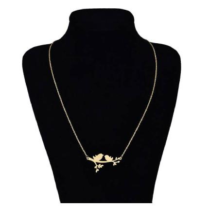 گردنبند طلا 18 عیار ماهک مدل دو گنجشک