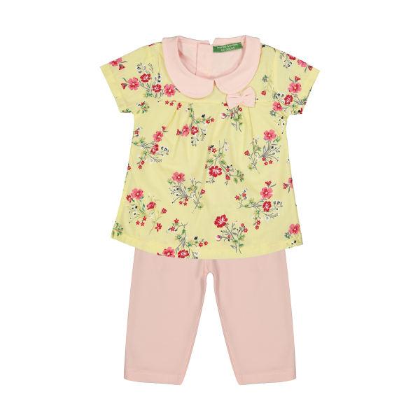 ست پیراهن و شلوار دخترانه گلها طرح بهار کد ۰۲