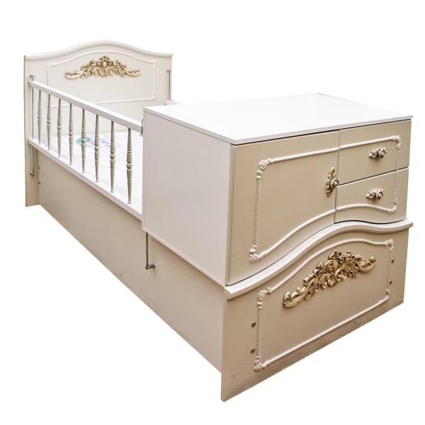 تخت خواب بچه گانه دخترانه چوبی کشودار