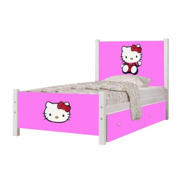 تخت خواب بچه گانه دخترانه - تخت خواب یک نفره طرح کیتی کد SP04