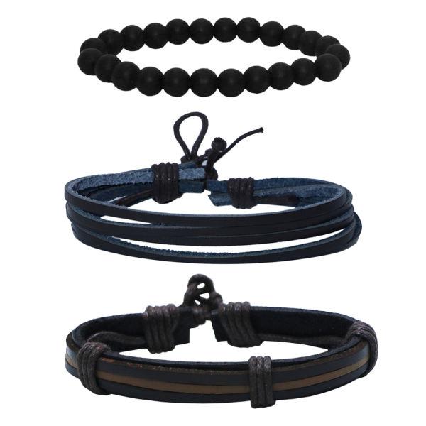 دستبند مردانه کد chf023 مجموعه 3 عددی