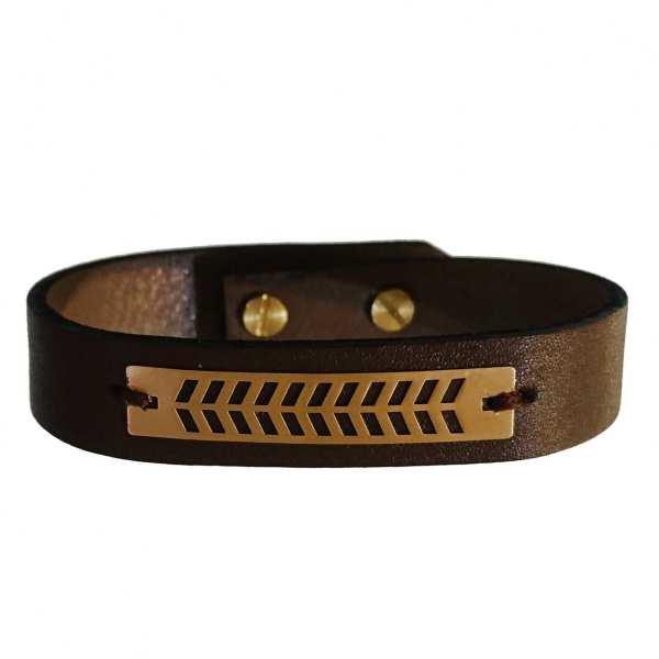 دستبند چرم و طلا 18 عیار کانیار گالری مدل DCH17