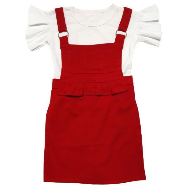 خرید پوشاک بچه گانه دخترانه - ست بلوز و سارافون دخترانه