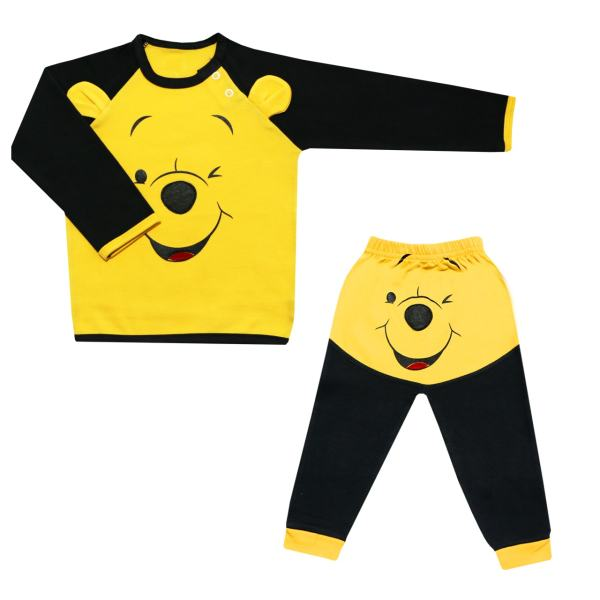 ست تیشرت آستین بلند و شلوار نوزادی پسرانه طرح خرس بازیگوش