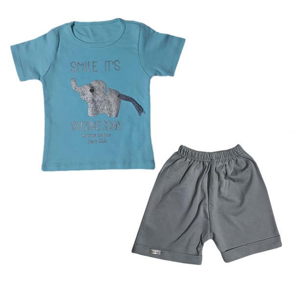 ست تیشرت آستین کوتاه و شلوارک پسرانه طرح فیل کد F5