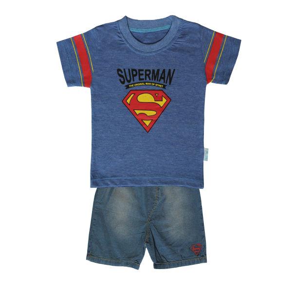 ست تیشرت و شلوارک پسرانه طرح سوپرمن