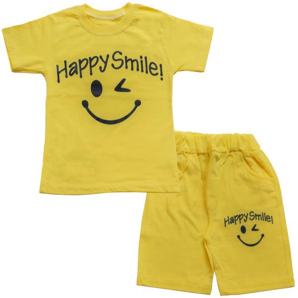 لباس اسپرت پسرانه بچه گانه - ست تیشرت و شلوارک پسرانه طرح happy smile کد 1