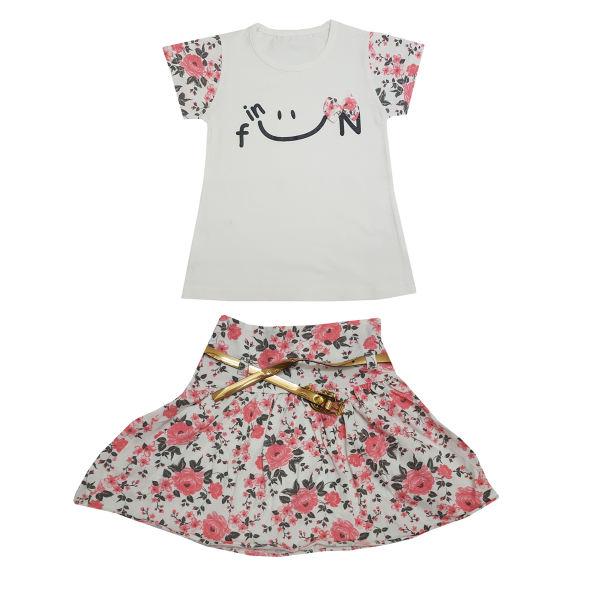 ست تی شرت و دامن دخترانه طرح smile رنگ گلبهی