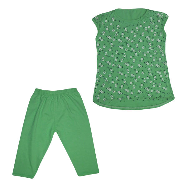 لباس بچه دخترانه ست تی شرت و شلوارک دخترانه سبز