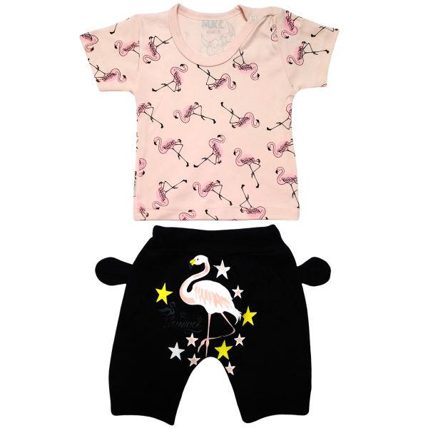ست تی شرت و شلوارک نوزادی دخترانه طرح فلامینگو