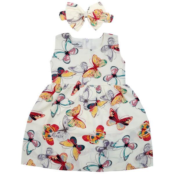 ست پیراهن و هدبند دخترانه طرح پروانه