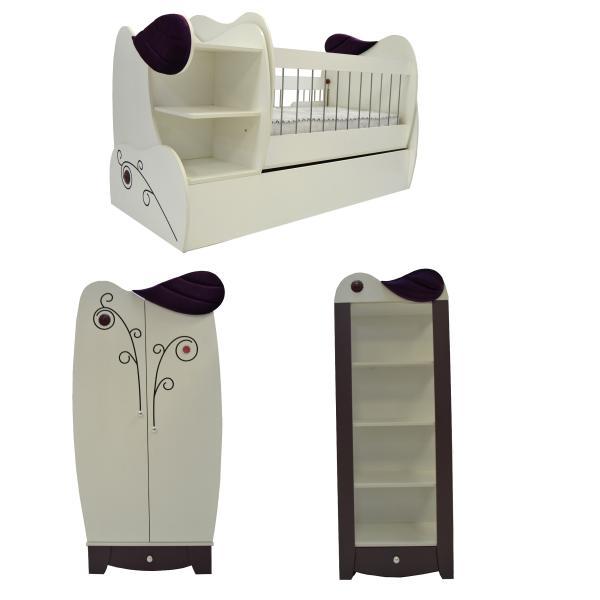 تخت خواب بچه گانه دخترانه - سرویس تخت و کمد کودک مدل Banafshe