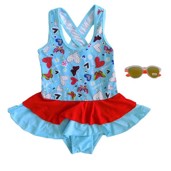 مایو شنا بچگانه مدل دامن دار آبی
