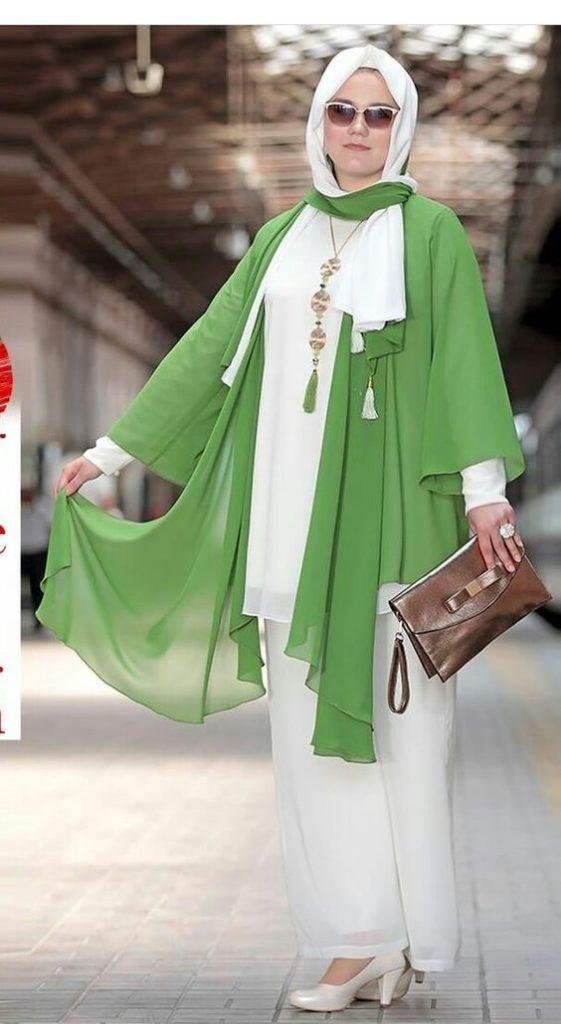 مدل مانتو حریر تابستانه سبز رنگ با شلوار سبز
