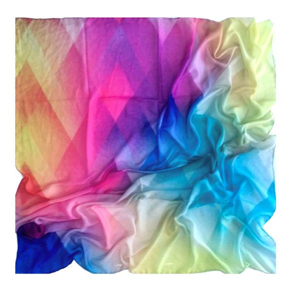 روسری زنانه نخی دور دست دوز هفت رنگ