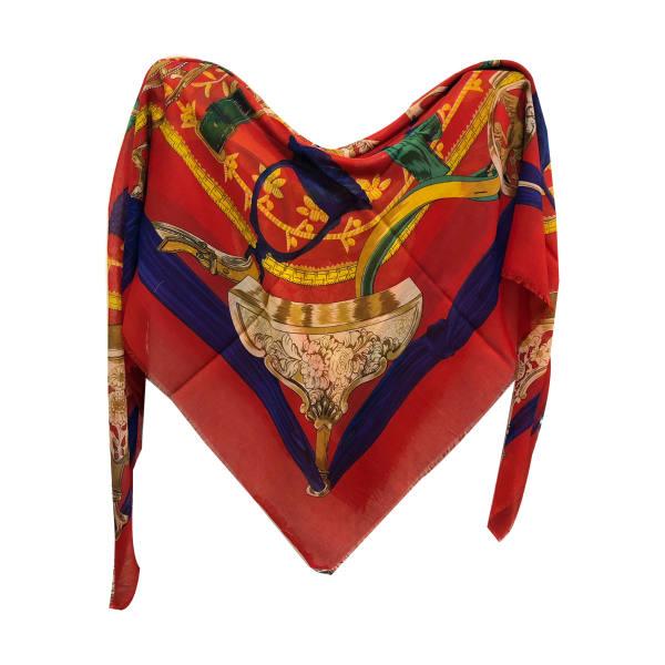 روسری زنانه نخی ریشه پرزی قواره 140 کد 605 تک سایز