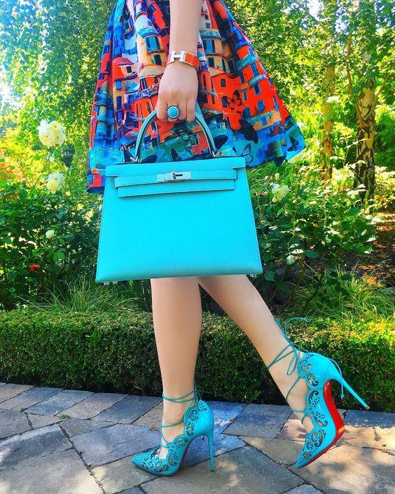 ست آبی کیف و کفش