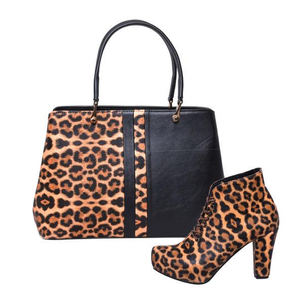 ست کیف و کفش زنانه طرح پلنگی کد 0048
