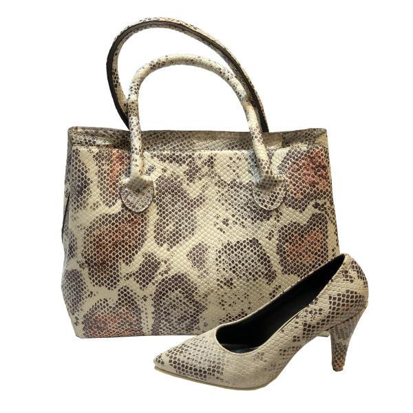 ست کیف و کفش زنانه طرح پوست مار کد T02