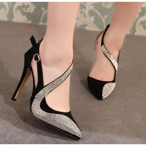 کفش زنانه پاشنه دار نگینی