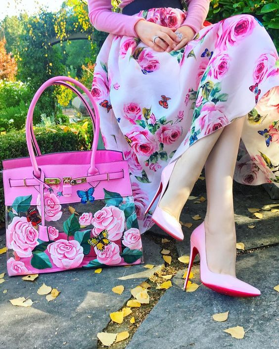 کیف و کفش فانتزی دخترانه صورتی گلدار