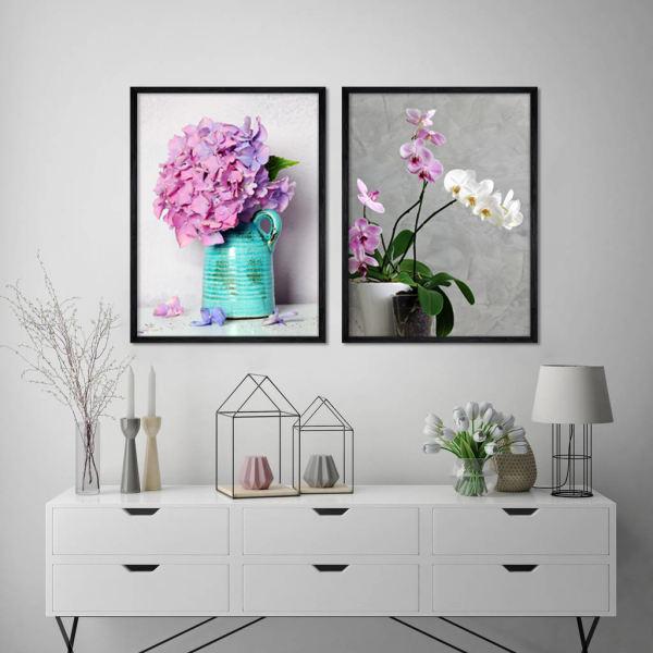 تابلو طرح گل و گلدان مجموعه 2 عددی