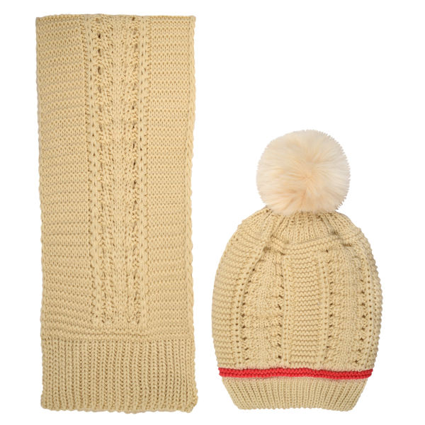 ست کلاه و شال گردن بافتنی دخترانه مدل D1-0214
