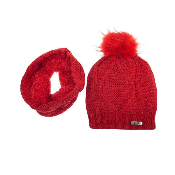 ست کلاه و شال گردن بافتنی زنانه تارتن مدل 20020 رنگ قرمز