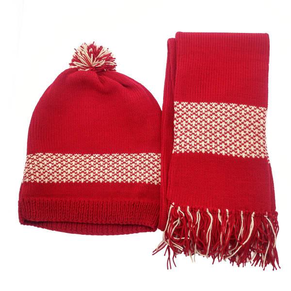 ست کلاه و شال گردن بافتنی قرمز دخترانه