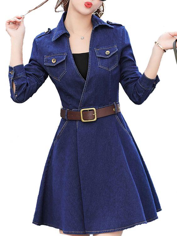 لباس جین دخترانه با کمربند