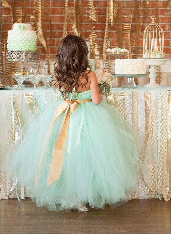 لباس عروس بچه گانه آبی روشن