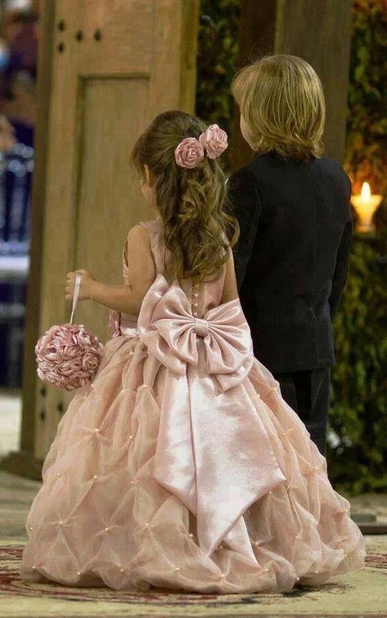 لباس عروس بچه گانه پاپیون دار