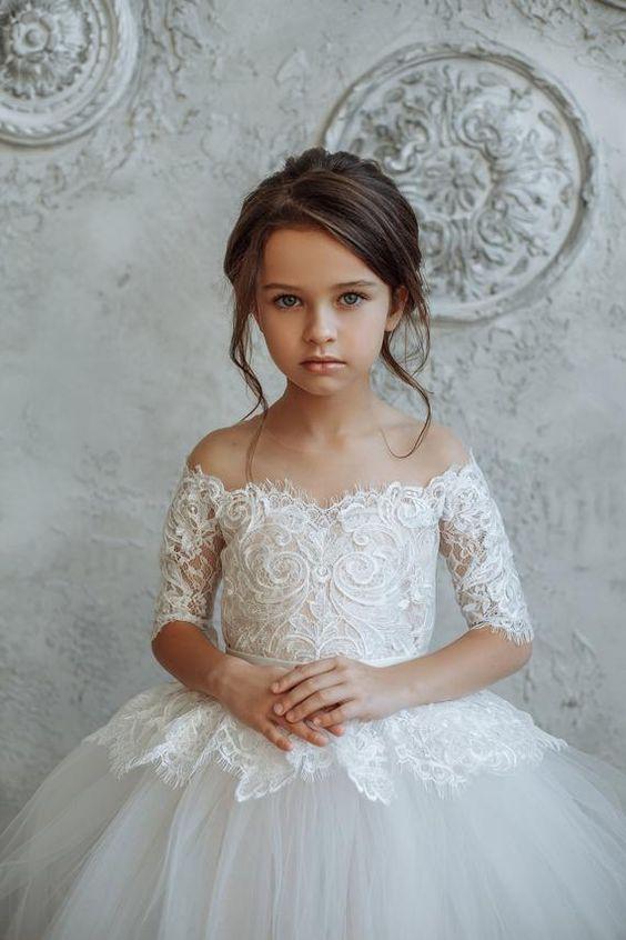 لباس عروس بچه گانه گیپور