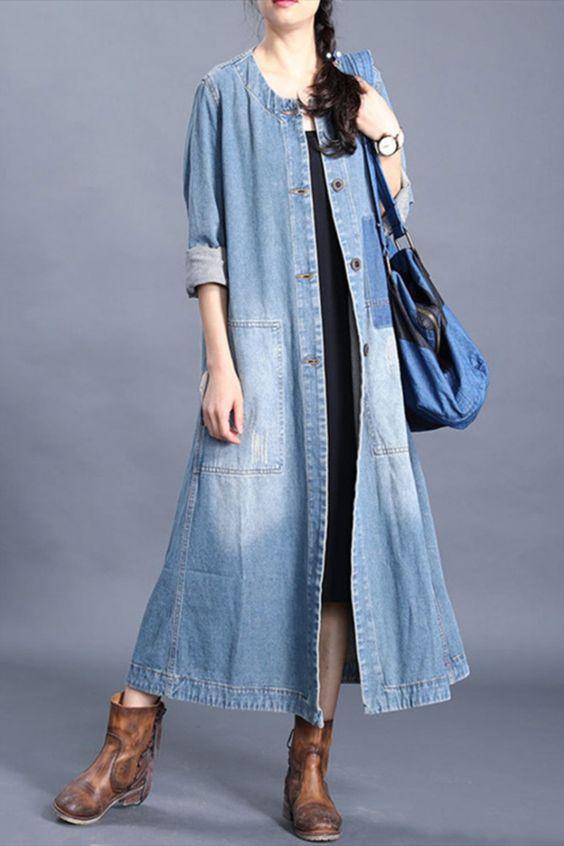 مانتو بلند جین دخترانه