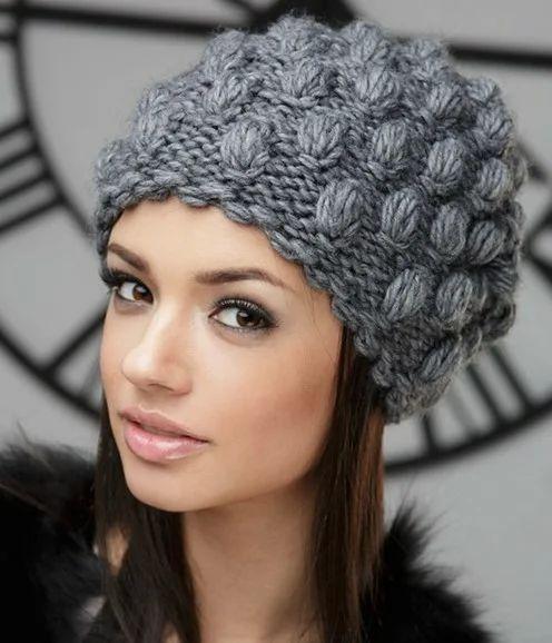 کلاه بافتنی طرح دار دخترانه