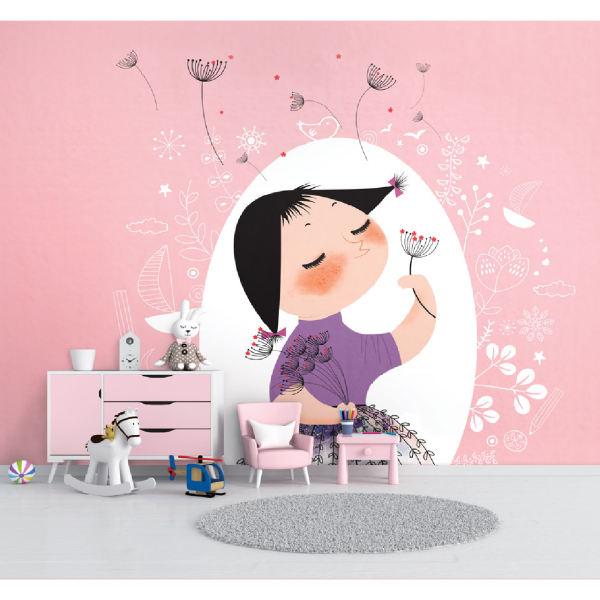 پوستر دیواری اتاق کودک طرح دخترک و قاصدک