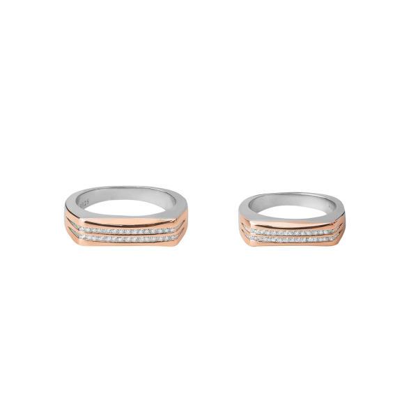 ست انگشتر نقره زنانه و مردانه کوبیک مدل QR-90001