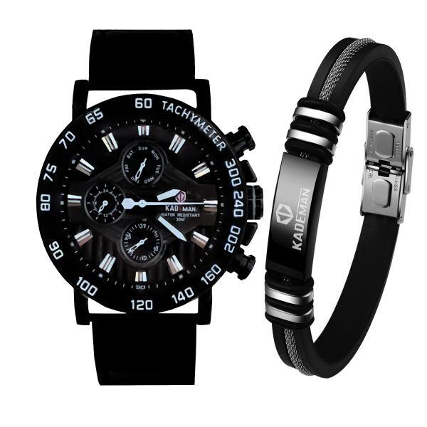ست دستبند و ساعت مچی عقربه ای مردانه کیدمن مدل 9033G